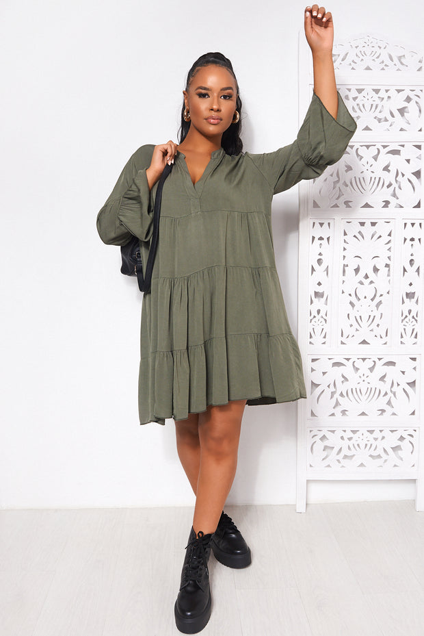 Khaki Long Sleeve Smock Dress