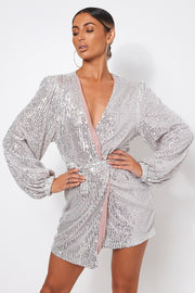 Silver Sequin Wrap Dress