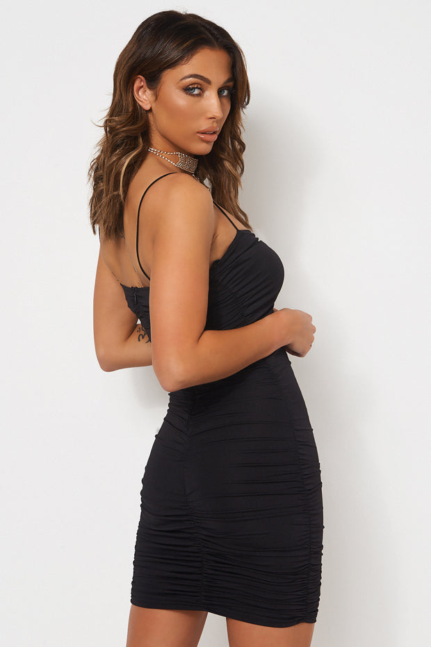 Jena Black Ruched Bodycon Dress