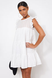 Kiya White Broderie Anglaise Smock Dress