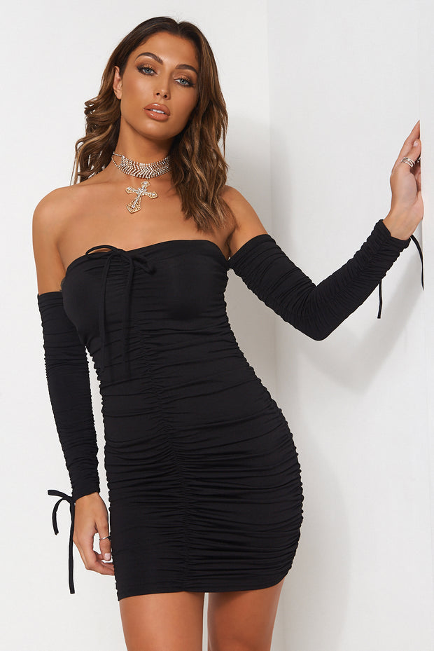 Lori Black Ruched Long Sleeve Bodycon Dress