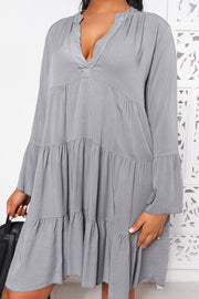 Grey Long Sleeve Smock Dress