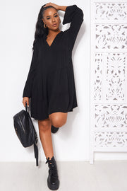 Polly Black Long Sleeve Smock Dress