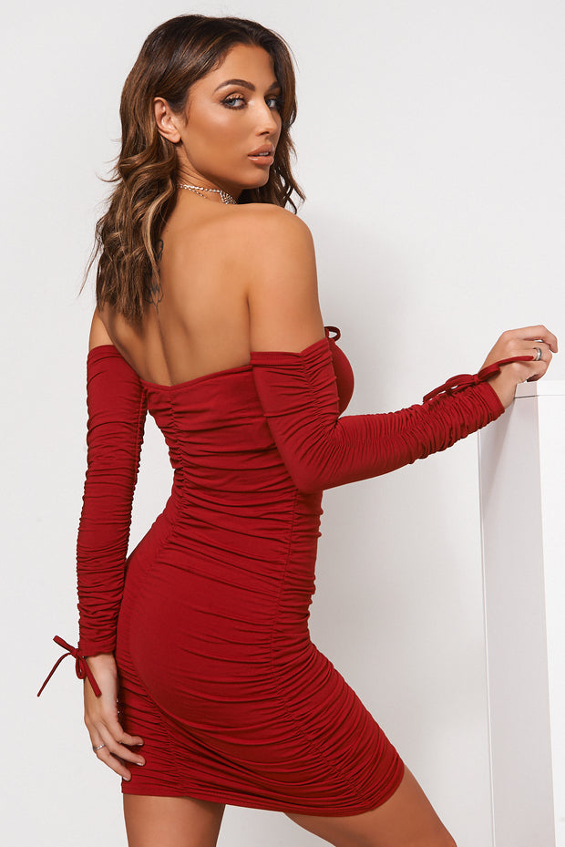 Lori Burgundy Ruched Long Sleeve Bodycon Dress