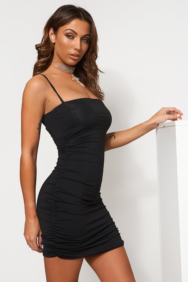 Mya Black Bodycon Mini Dress