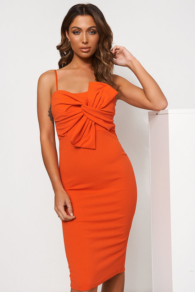 Orange Bow Detail Bodycon Dress