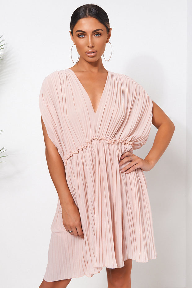 Nude Grecian Chiffon Pleated Dress