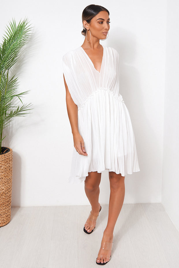 White Grecian Chiffon Pleated Dress