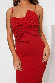 Red Bow Detail Bodycon Dress