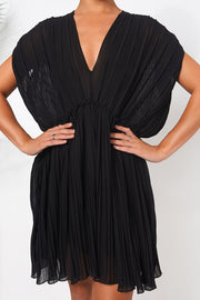 Black Grecian Chiffon Pleated Dress