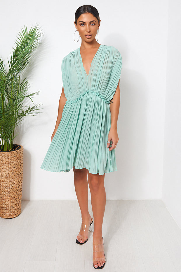 Green Grecian Chiffon Pleated Dress