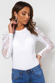 White Lace Puff Sleeve T-Shirt