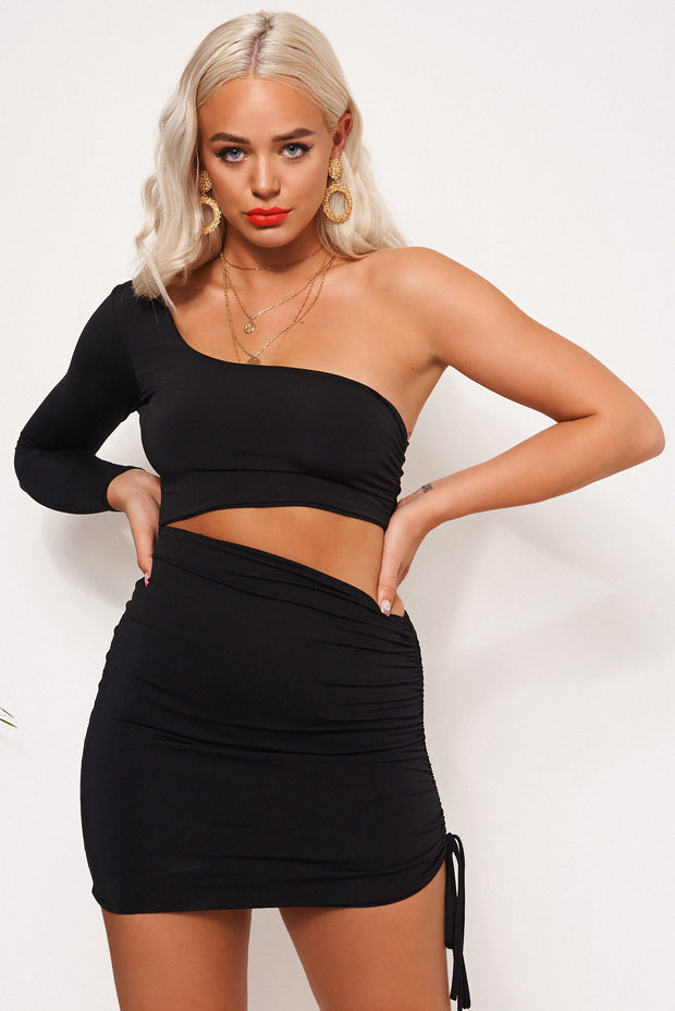 Valencia One Shoulder Black Bodycon Dress