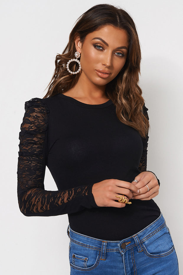 Black Lace Puff Sleeve T-Shirt