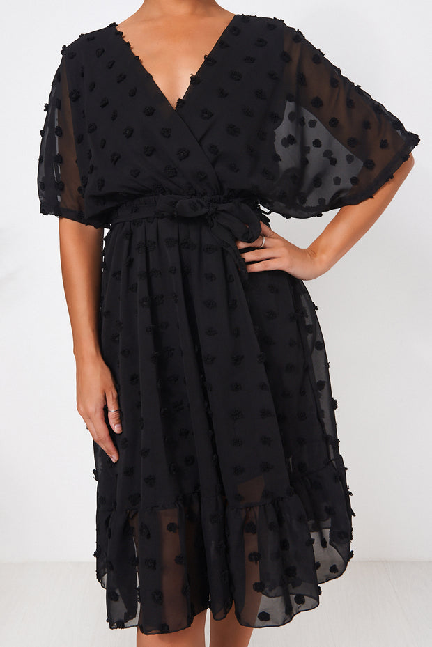 Biba Black Wrap Dobby Dress