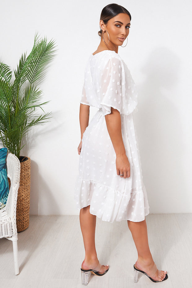 Biba White Wrap Dobby Dress