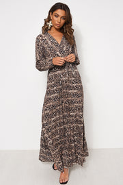 Snakeskin Pleated Maxi Dress