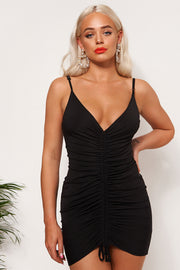 Pia Black Ruched Backless Midi Dress