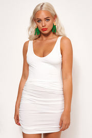 Diablo White Backless Ruched Dress
