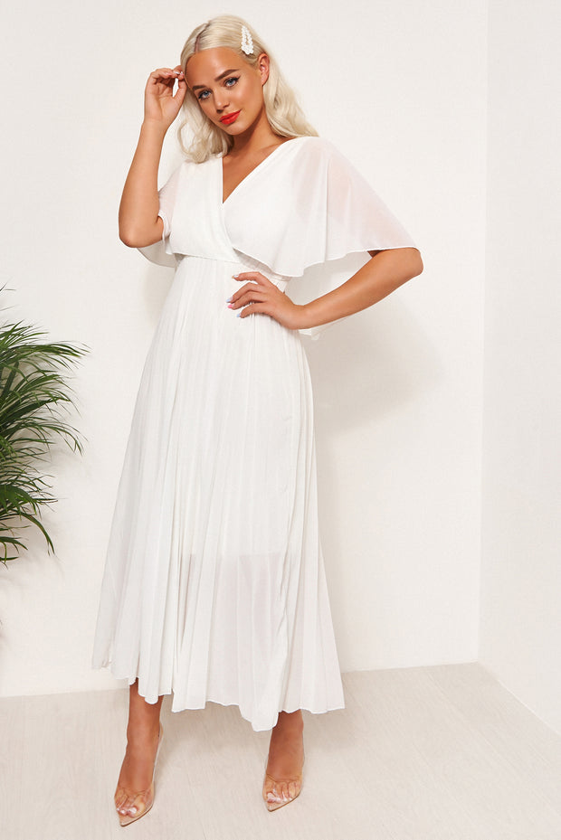 Tama White Open Back Midi Dress
