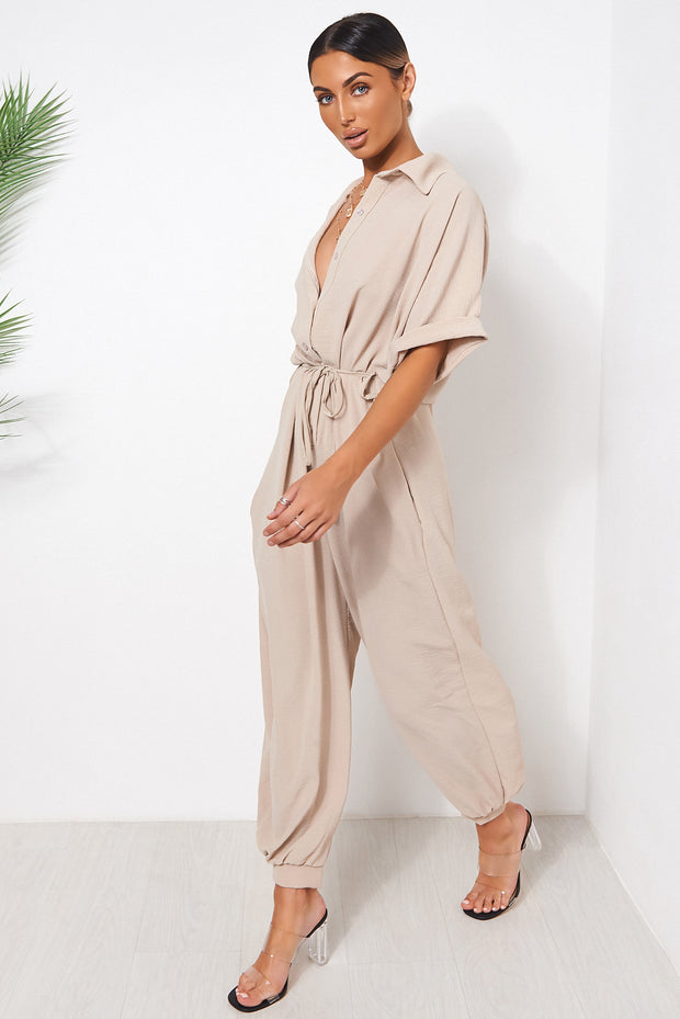Beige Wide Leg Jumpsuit