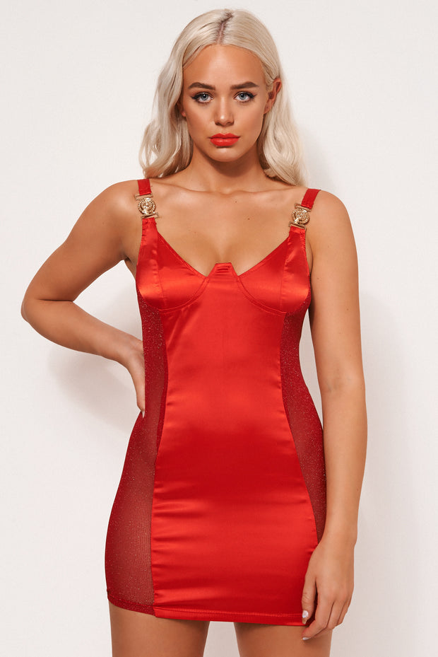 Lori Red Satin Bodycon Dress