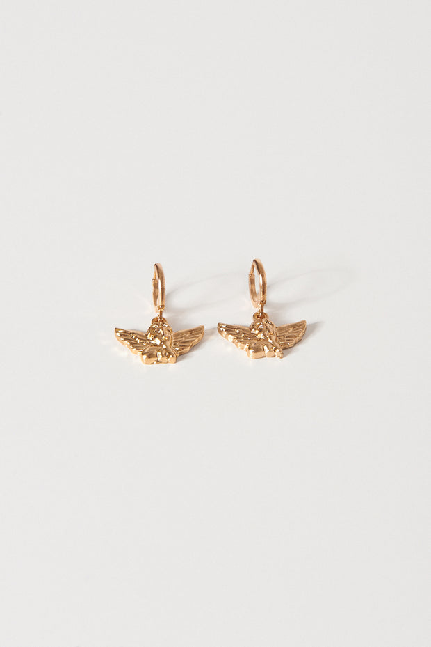 Gold Cherub Hoop Earrings