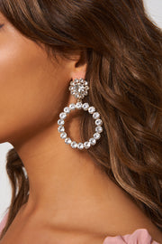 Silver Diamante Circle Earrings