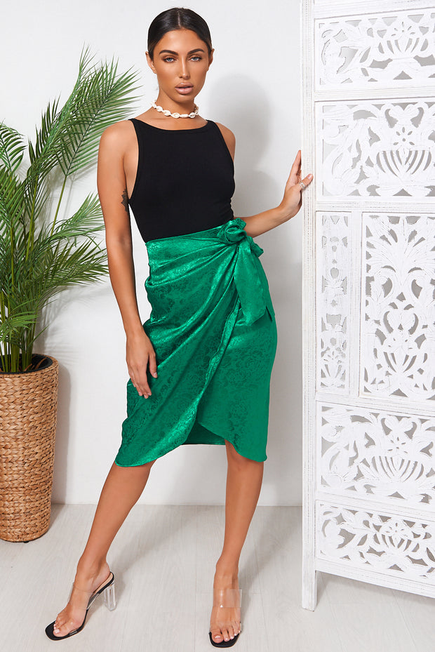 Green Satin Wrap Front Midi Skirt