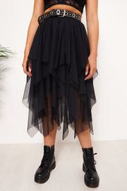 Black Tulle Overlay Layered Midi Skirt