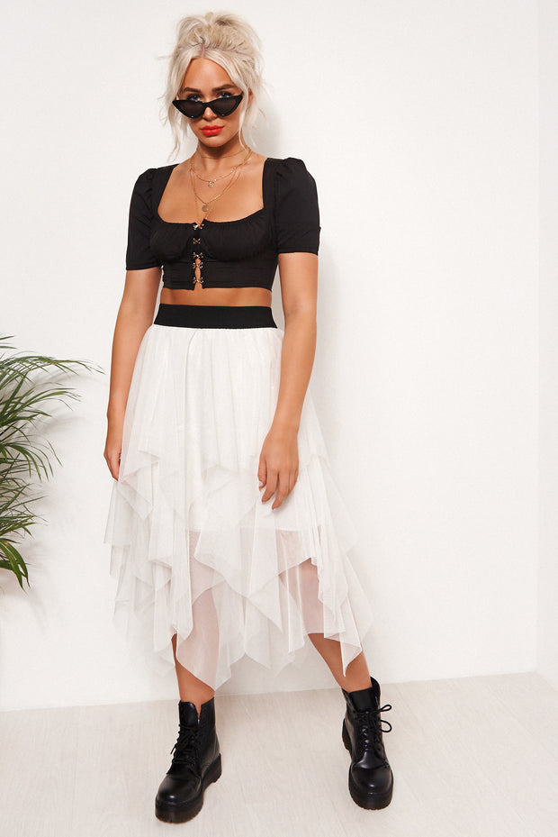 White Tulle Overlay Layered Midi Skirt