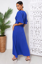 Chloe Blue Cape Sleeve Maxi Dress