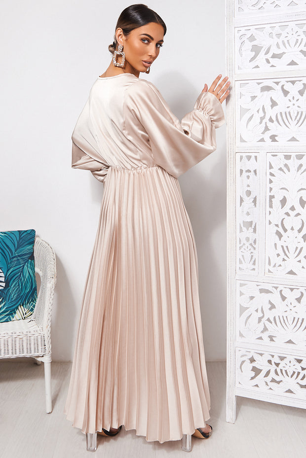 Champagne Long Sleeve Satin Maxi Dress