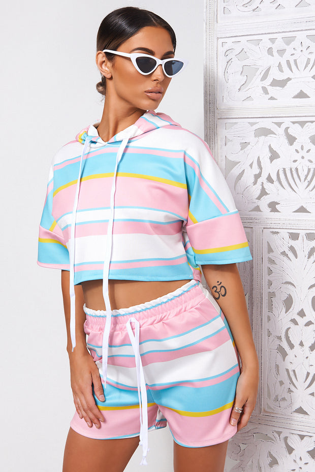Candy Stripe Pink Hoodie Crop Top & Shorts Co-ord