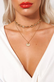 Gold Shell Overlay Necklace