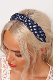 Navy Polka Dot Twist Headband