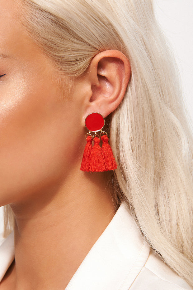 Ari Red Tassel Earrings