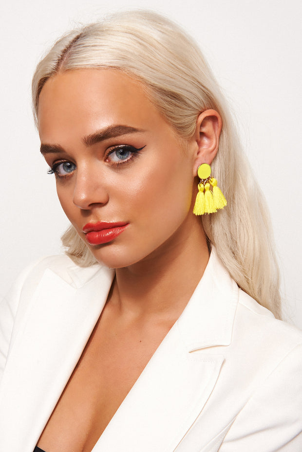 Ari Yellow Tassel Earrings