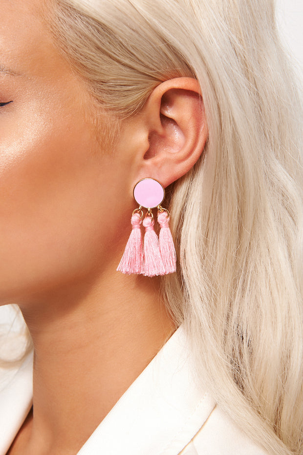 Ari Pink Tassel Earrings