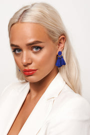 Ari Blue Tassel Earrings
