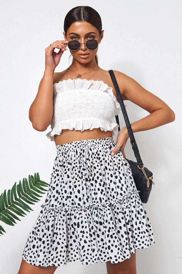 Black & White Dalmatian Print Skirt