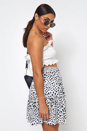 Black & White Dalmatian Print Mini Skirt