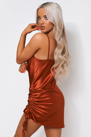 Rust Satin Ruched Slip Dress
