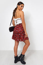 Red Dalmatian Print Mini Skirt