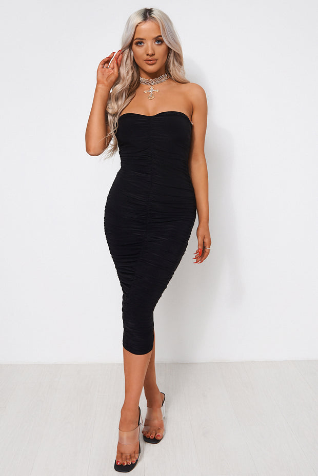Lois Black Ruched Strapless Bodycon Dress