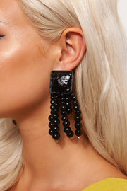 Black Cluster Earrings