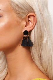 Ari Black Tassel Earrings