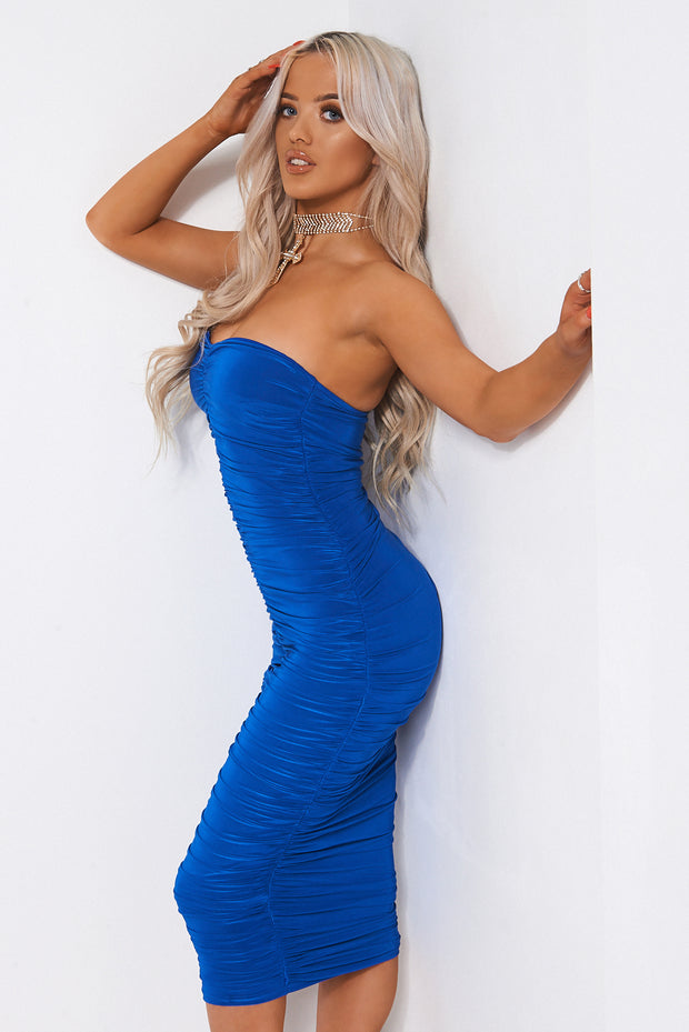 Lois Blue Ruched Strapless Bodycon Dress