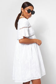 Lotus White Crochet Smock Dress