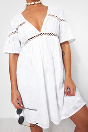 White Crochet Smock Dress